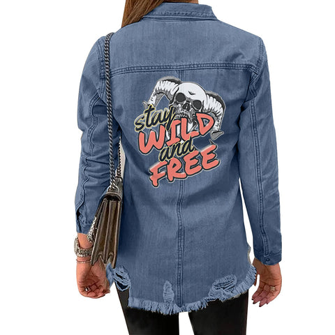 Distressed Denim shirt Jacket - skulldaze