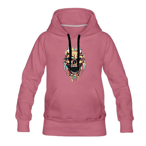 Watercolor Splatter Pastel Skull Monster Women's Hoodie - skulldaze