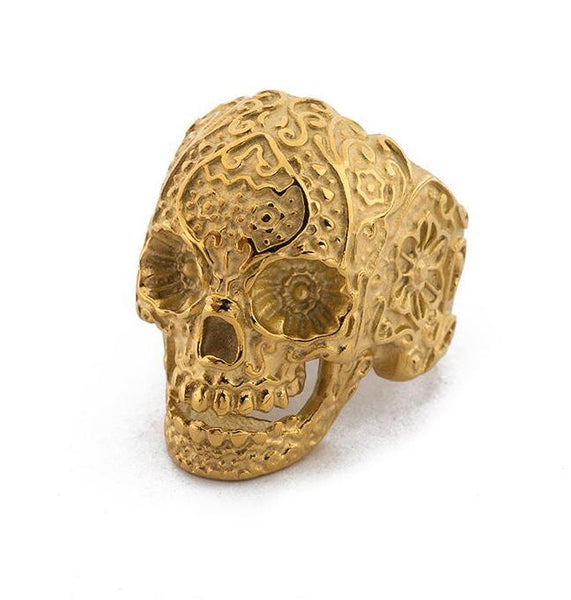 Carved Skull Eyes Ring - skulldaze