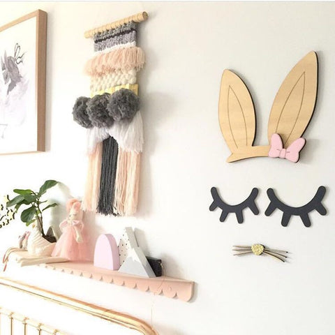 Baby Room Decor Wooden Wall Stickers Cute Rabbit Shape for Children Room Sticker Kids Nursery Wall Decals Home Decor