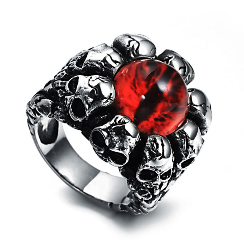 Stainless Steel Gothic Men Ring Skull Biker Punk Rings Mens jewelry - skulldaze