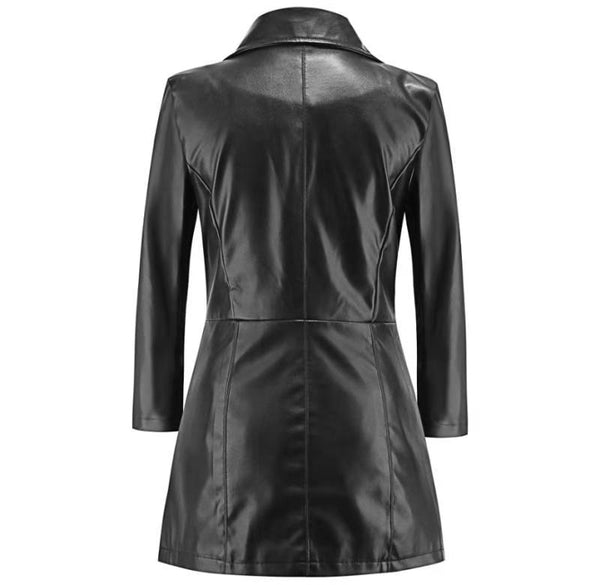Women Medium long sleeves Coat autumn winter large lapel leather Temperament Buttons PU jacket - skulldaze