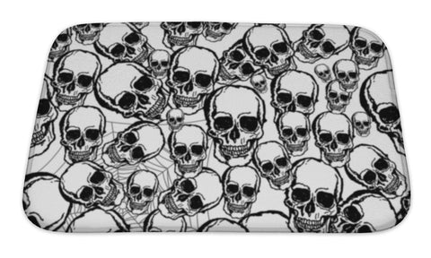 Bath Mat, Hand Drawn Skull - skulldaze