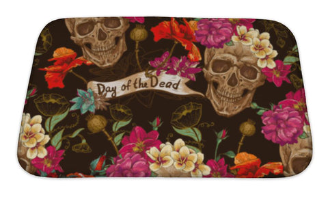 Bath Mat, Skull And Flowers - skulldaze