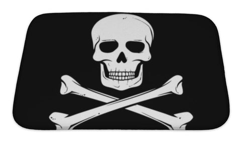 Bath Mat, Pirate Flag Jolly Roger Pirate Flag With Skull And Cross Bones - skulldaze