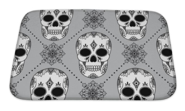 Bath Mat, Pattern With Skulls - skulldaze