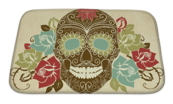 Bath Mat, Skull And Roses Colorful Day Of The Dead Card - skulldaze