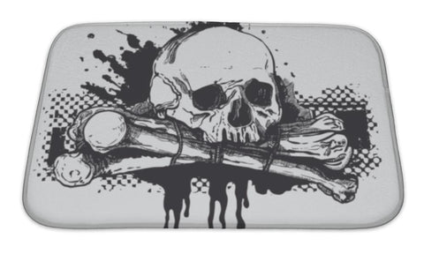 Bath Mat, Skull Illustration - skulldaze