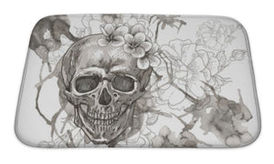 Bath Mat, Abstract With Skull Wings And Flowers - skulldaze
