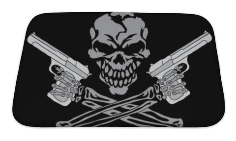 Bath Mat, Smiling Skull With Guns - skulldaze