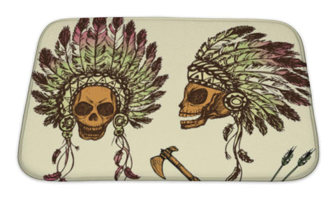 Bath Mat, Human Skull In Native American Indian Chief Headdress With Tomah - skulldaze