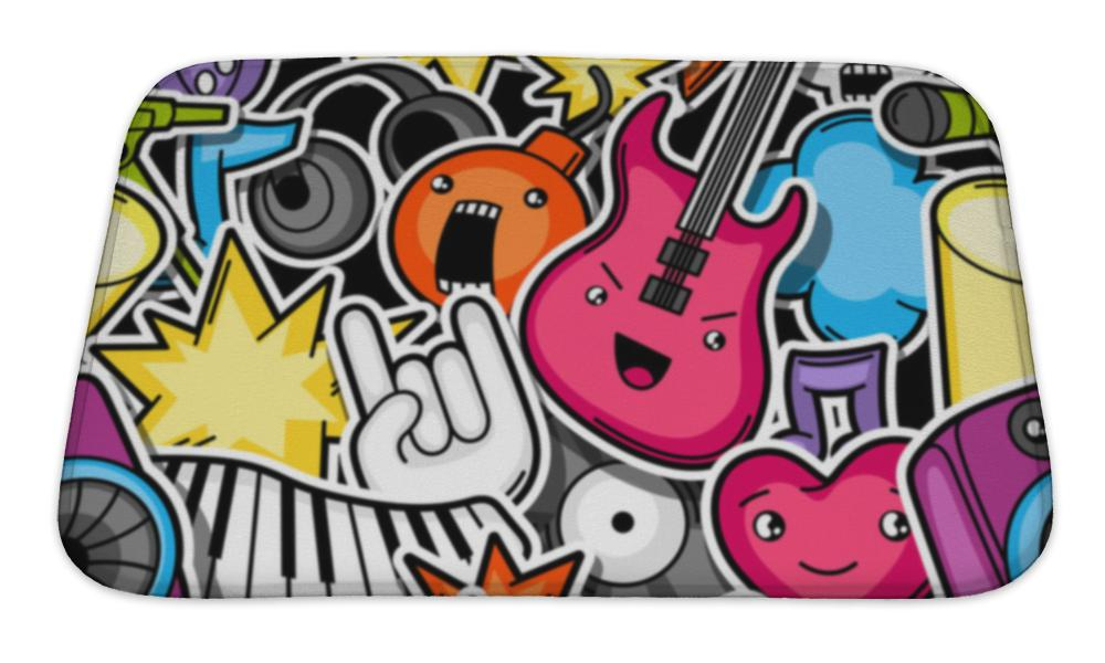 Bath Mat, Music Party Kawaii Pattern Musical Instruments Symbols And Objects In Cartoon - skulldaze