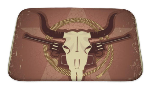 Bath Mat, Western Postcard With Bull Skull And Guns - skulldaze