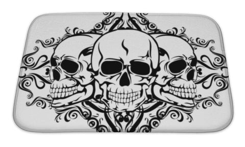 Bath Mat, Skull With Pattern - skulldaze