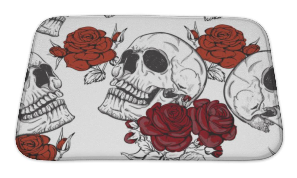 Bath Mat, Roses And Skulls - skulldaze