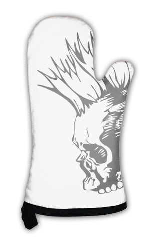 Oven Mitt, Illustration With Punk Skull - skulldaze