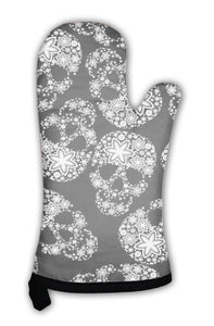 Oven Mitt, White Skulls In Flowers On Black - skulldaze