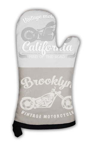 Oven Mitt, Vintage Motorcycle Set Painted With Watercolors - skulldaze