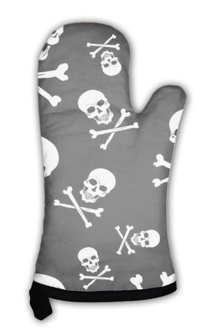 Oven Mitt, Pattern With Skulls And Bones On Black - skulldaze