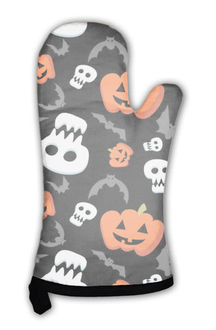 Oven Mitt, Funny Halloween Pattern With Skulls Bats And Pumpkins - skulldaze