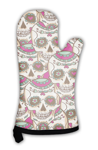 Oven Mitt, Skull And Flowers - skulldaze