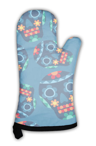 Oven Mitt, Mexican Pattern With Skulls In Native Style - skulldaze