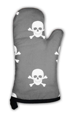 Oven Mitt, Pattern With Skulls And Bones - skulldaze