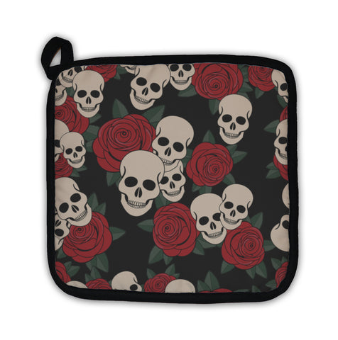 Potholder, Skulls And Roses Colorful Day Of The Dead Card - skulldaze
