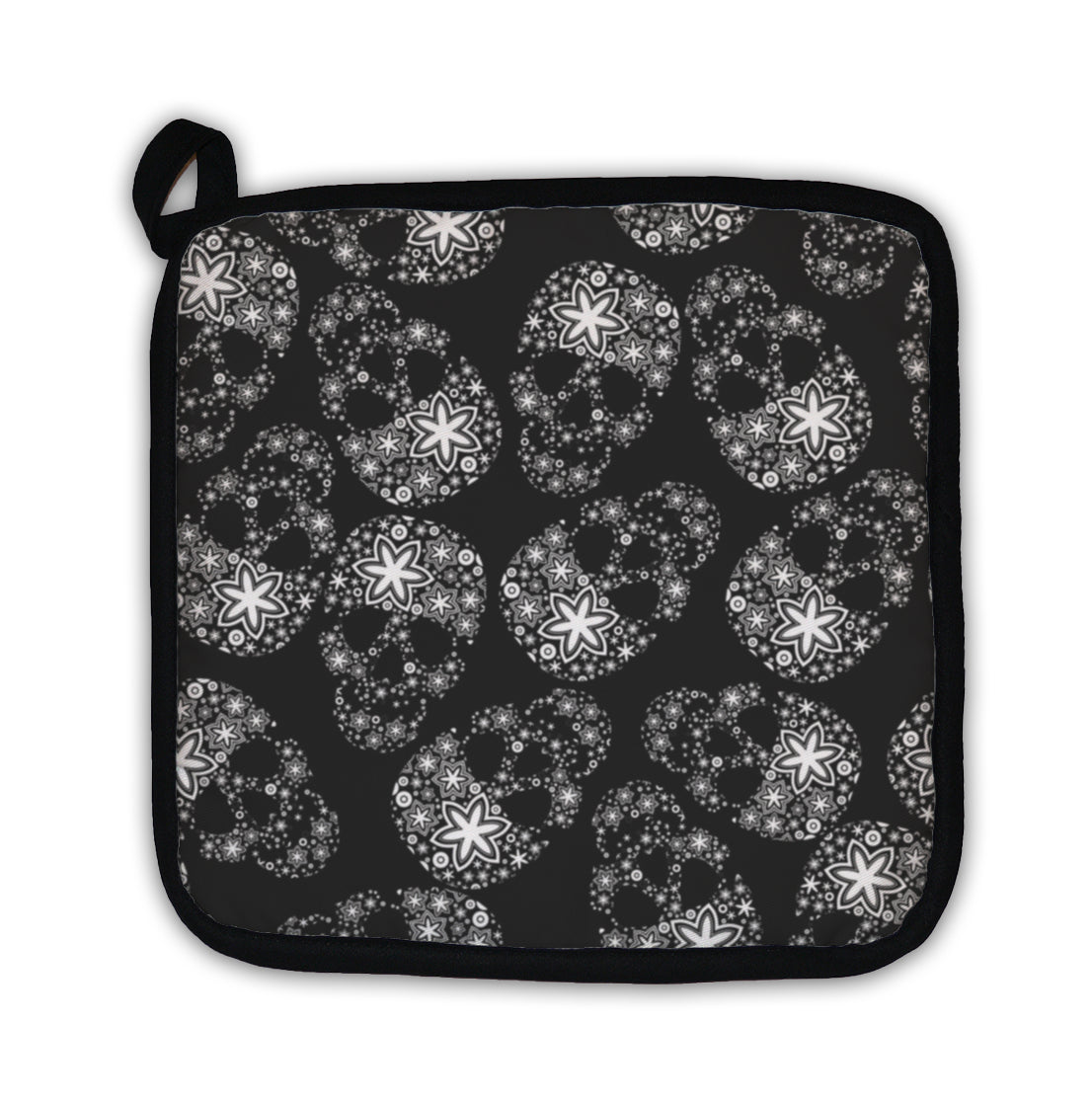 Potholder, White Skulls In Flowers On Black - skulldaze