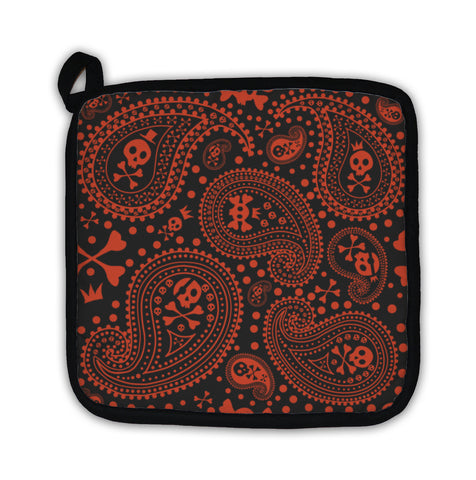 Potholder, Pattern With A Paisley And Skulls - skulldaze