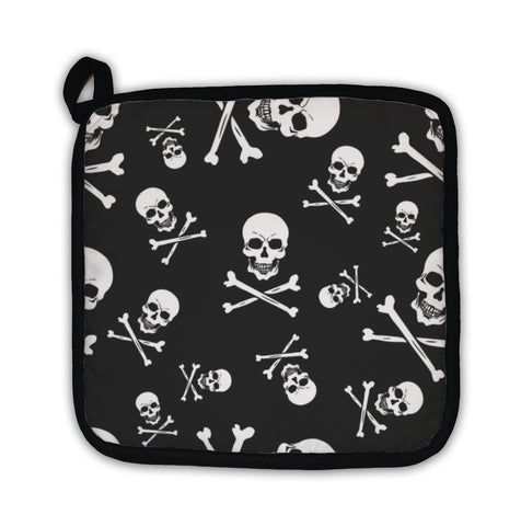 Potholder, Pattern With Skulls And Bones On Black - skulldaze