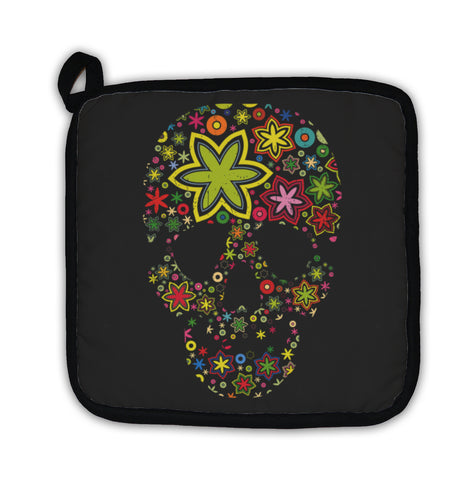 Potholder, Colorful Skulls On Black Pattern - skulldaze