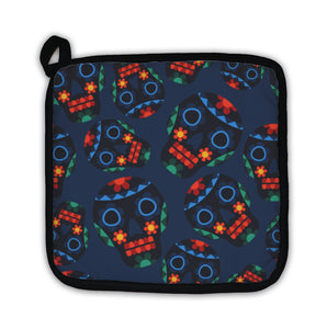 Potholder, Mexican Pattern With Skulls In Native Style - skulldaze