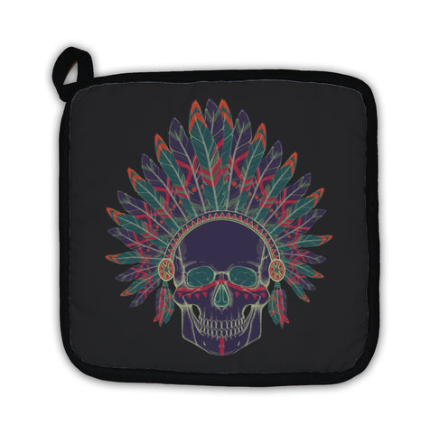 Potholder, Of Human Skull In Native American Indian Chi - skulldaze
