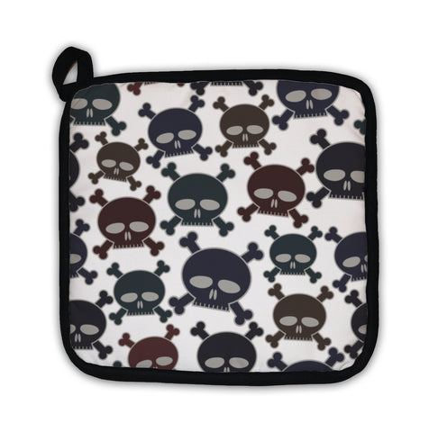 Potholder, Funny Cartoon Style Skulls Pattern - skulldaze