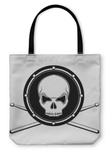 Tote Bag, Jolly Roger Drum Skull With Drumsticks - skulldaze