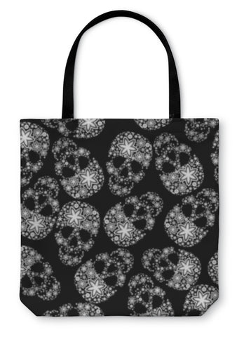 Tote Bag, White Skulls In Flowers On Black - skulldaze