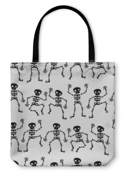 Tote Bag, Dancing Skeleton Pattern - skulldaze