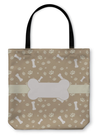 Tote Bag, With Dog Paw Print And Bone - skulldaze