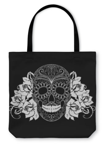Tote Bag, Skull And Roses Black And White Day Of The Dead Card - skulldaze