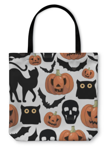Tote Bag, Cartoon Halloween Pattern - skulldaze