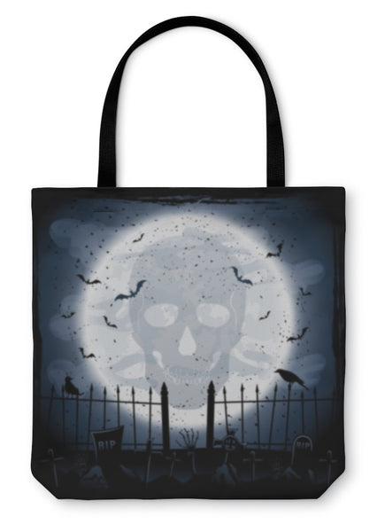 Tote Bag, Moon With Skull - skulldaze