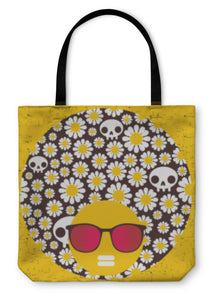 Tote Bag, Black Head Woman With Strange Pattern On Her Hair - skulldaze
