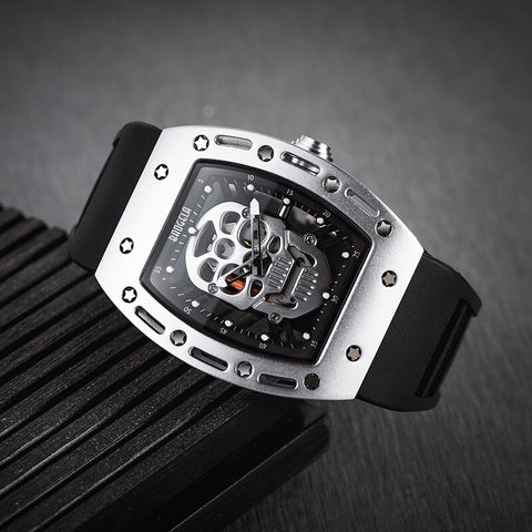 Skull Watch Waterproof Skeleton Head  Black Wristwatch - Silver Face - skulldaze