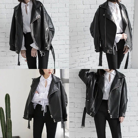 Vegan Leather turn down collar coat jacket crop - skulldaze