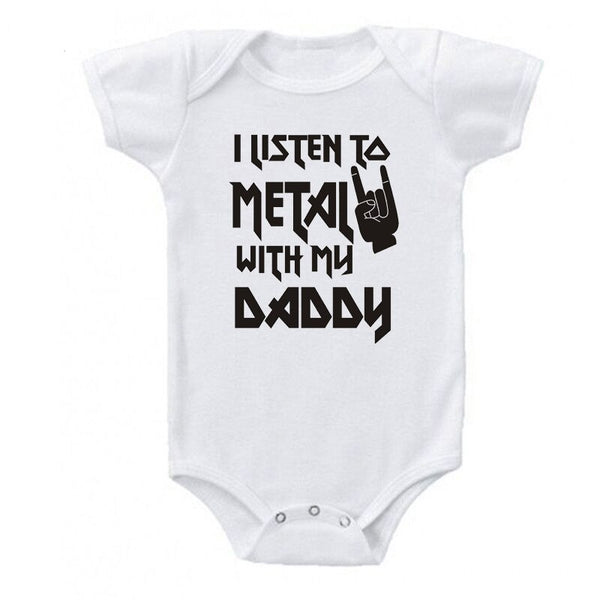 I Listen to Metal with My Mom and Dad Baby Bodysuit - skulldaze