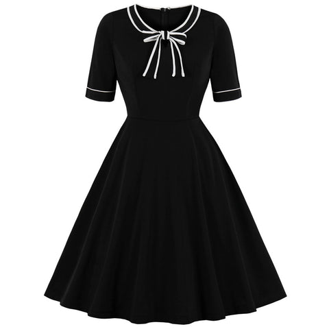 Black Retro Dress Elegant Style Round Neck Short Sleeves Bowknot - skulldaze