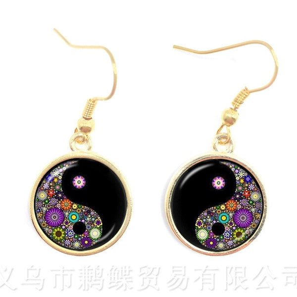 New Glass Cabochon Drop Earrings Jewelry Yin yang Skulls Witchcraft Fashion Gifts Colourful Flowers Mix Art Picture Jewellery - skulldaze
