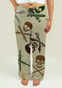 Ladies Pajama Pants with Skull and Swords - skulldaze