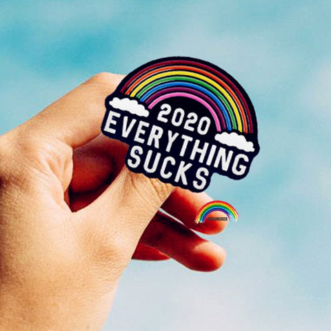 Rainbow Color 2020 EVERYTHING SUCKS Enamel Brooch Pins Badge Lapel Pins Cosplay Fashion Jewelry Accessories Gifts - skulldaze